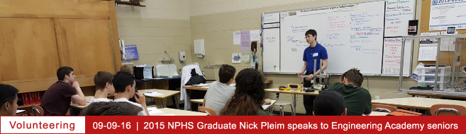 2015 NPHS Graduate, Nick Pleim, speaks to Engineering Academy seniors!