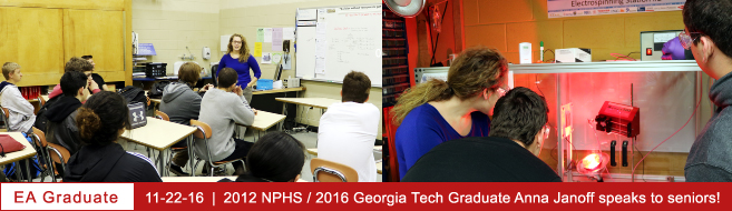 Anna Janoff, 2016 Georgia Tech and 2012 NP Engineering Academy Graduate, Speaks with Engineering Academy Seniors