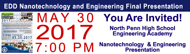 North Penn High SchoolEngineering Academy Seniors to Present Their Nanotechnology and Engineering Research! 5-30-17